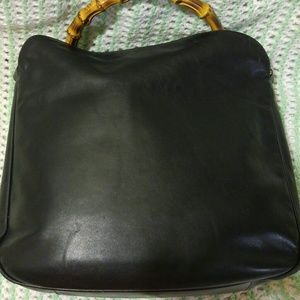 Authentic Vintage Bamboo Gucci Leather Black Bag